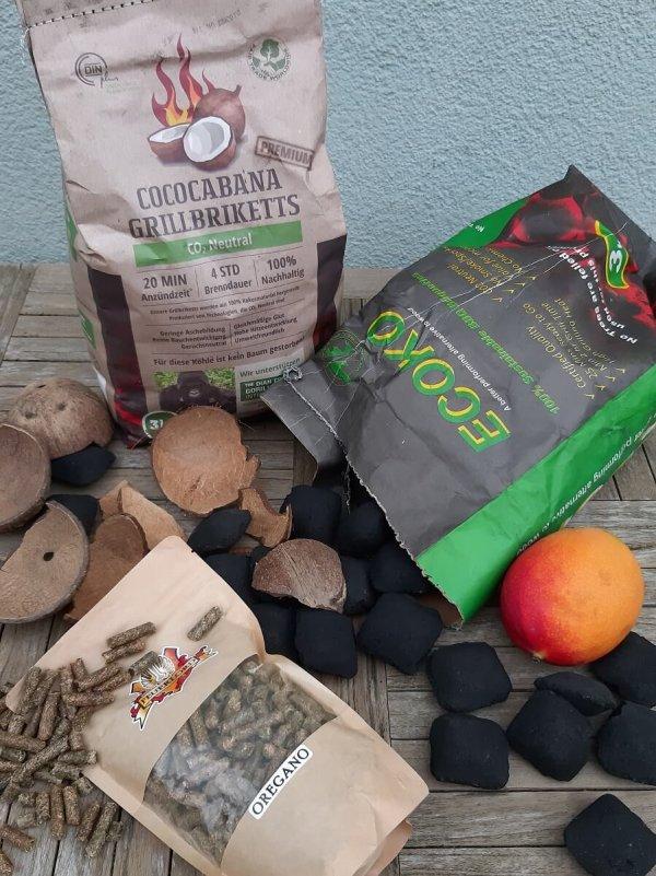 Cococabana Grillbriketts, Ecoko Grillkohle und Feuerlord Räucherpellets