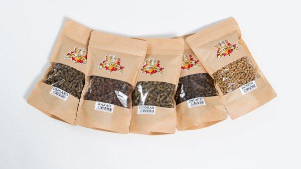 5 Sorten Feuerlord Räucherpellets Kakao, Grüntee, Hopfen, Oregano, Thymian
