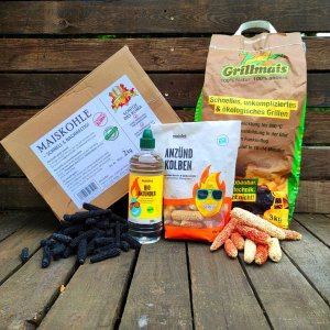 Grillmais Testpaket, Maisspindeln, Maiskohle, Bio Anzünder und Anzündkolben