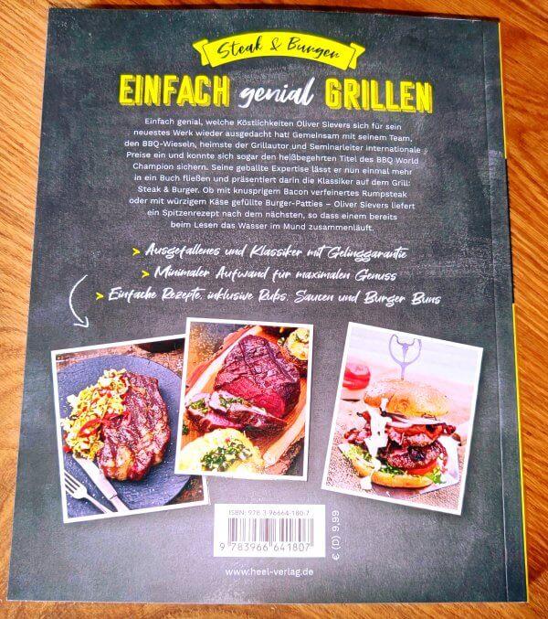 Oliver Sievers Grillbuch Einfach genial Grillen Steak & Burger Rückseite